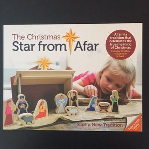 Wooden Nativity set and book never used